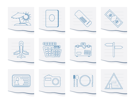 Travel and trip Icons on a piece of paper - Vector Icon Set