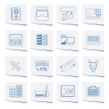 bank, business, finance and office icons on a piece of paper - vector icon set Illustration
