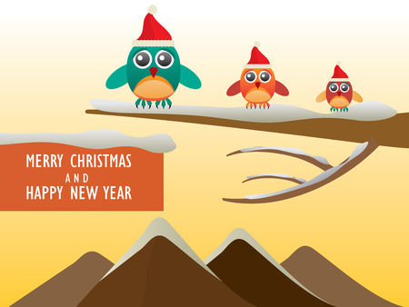 Greeting card with cute owls in Santa hats for Merry Christmas and Happy New Year - Vector Illustration