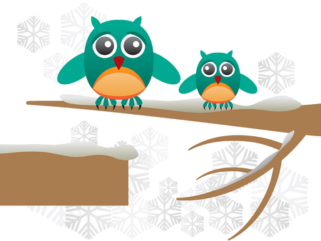 Greeting card with cute owls over branch covered with snow - Vector Illustration Illustration
