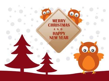 Greeting card with cute owls  for Merry Christmas and Happy New Year - Vector Illustration