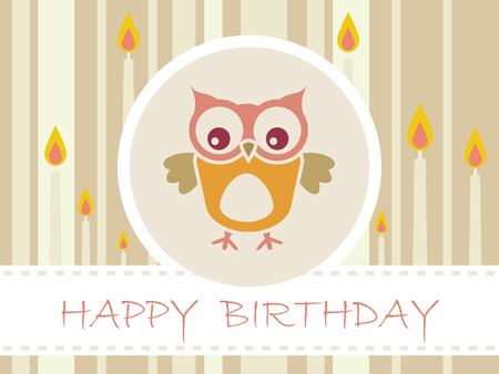 Flat Birthday party card with cute owls and candles - Vector Illustration Illustration