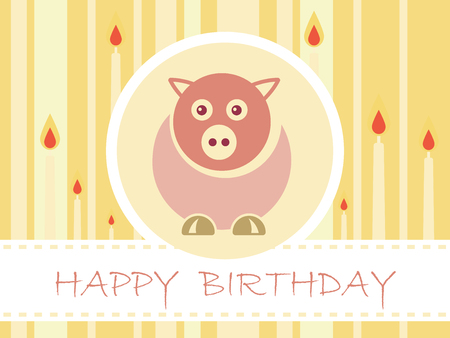 Flat Design Birthday party card with cute pig and candles - Vector Illustration Illustration