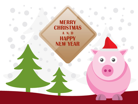 Greeting card with cute pigs  for Merry Christmas and Happy New Year - Vector Illustration Illustration