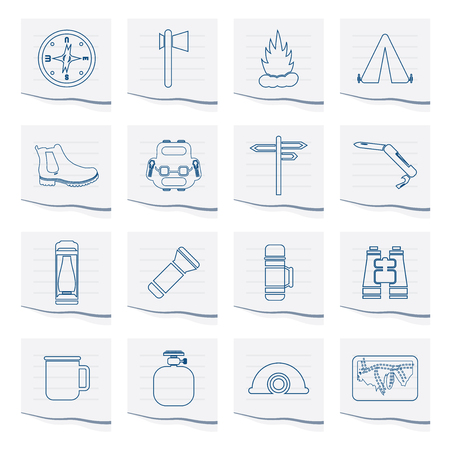 Tourism and Holiday icons on a piece of paper- Vector Icon Set Vektorgrafik