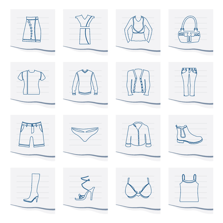 Clothing and Dress Icons on a piece of paper - Vector Icon Set Illustration