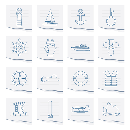 Marine, Sailing and Sea Icons on a piece of paper - Vector Icon Set