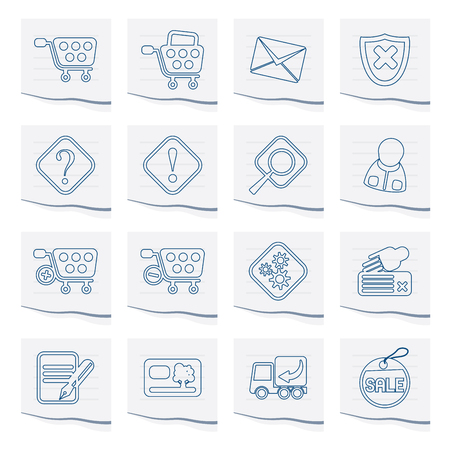 Online Shop Icons on a piece of paper - Vector Icon Set