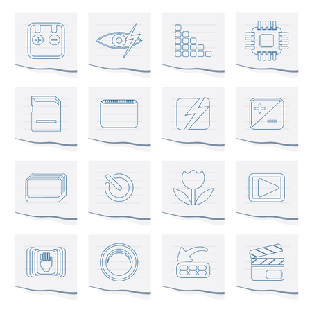 Digital Camera  Performance Icons on a piece of paper - Vector Icon Set