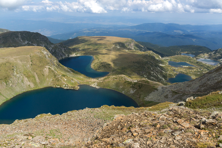 Amazing panoramic view of The Seven Rila Lakes, Rila Mountain, Bulgaria Фото со стока