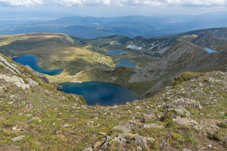Amazing panoramic view of The Seven Rila Lakes, Rila Mountain, Bulgaria Banque d'images