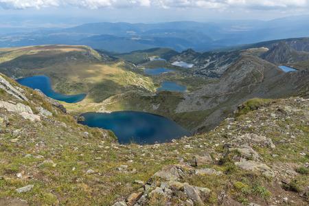 Amazing panoramic view of The Seven Rila Lakes, Rila Mountain, Bulgaria Imagens