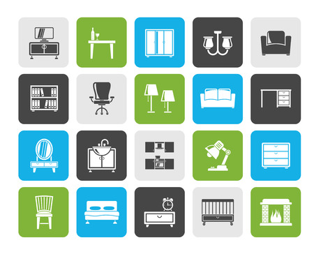 furniture and home equipment icons - vector icon set