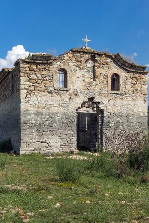 Abandoned Medieval Eastern Orthodox church of Saint John of Rila at the bottom of Zhrebchevo Reservoir, Sliven Region, Bulgaria
