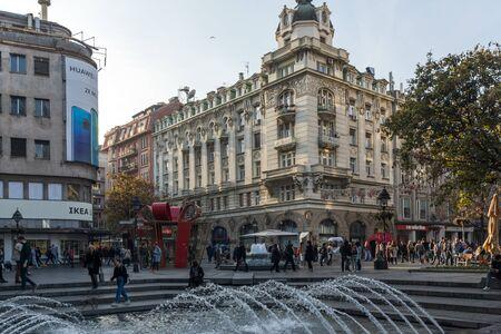 BELGRADE, SERBIA - NOVEMBER 10, 2018: Knez Mihailova Street (Prince Michael Street) in the center of city of Belgrade, Serbia