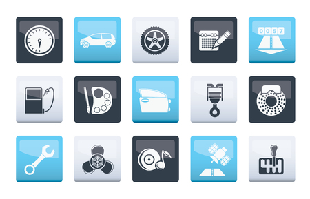 car parts, services and characteristics icons over color background - vector icon set Illustration