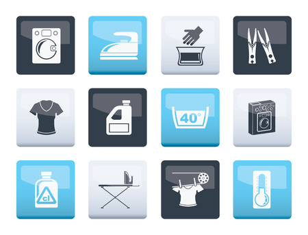 Waschmaschinen- und Wäschesymbole über farbigem Hintergrund - Vektorillustration