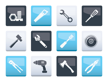 different kind of tools icons over color background - vector icon set Çizim