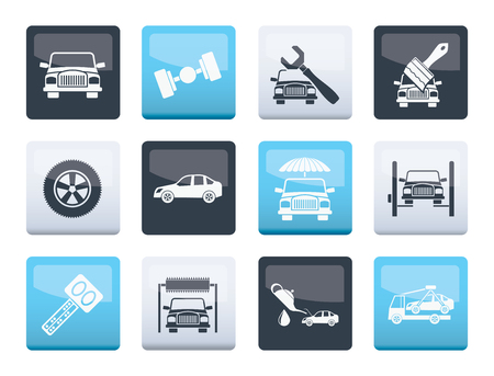 auto service and transportation icons over color background - vector icon set