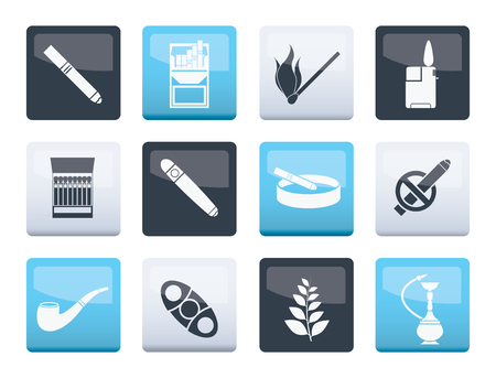 Smoking and cigarette icons over color background - vector icon set