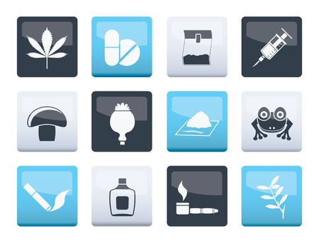 Different kind of drug icons over color background - vector icon set
