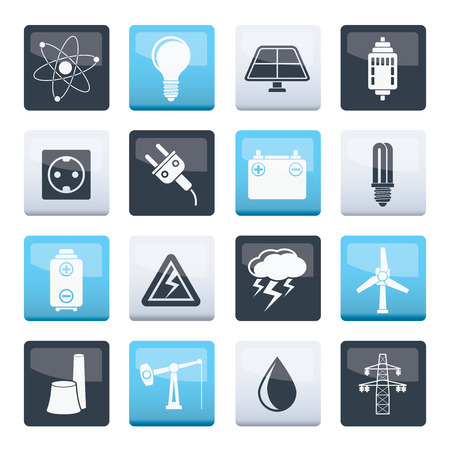 Power and electricity industry icons over color background - vector icon set