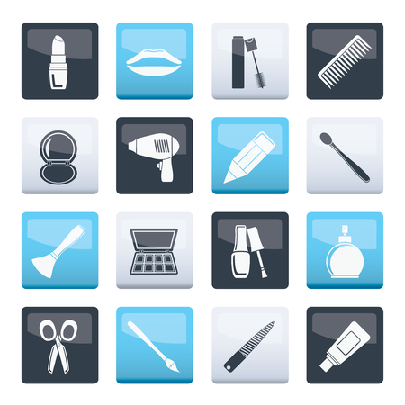cosmetic, make up and hairdressing icons over color background - vector icon set