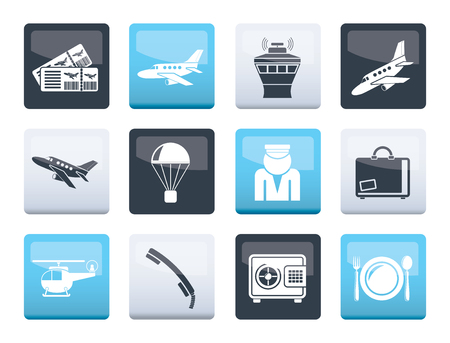 Airport and travel icons over color background - vector icon set