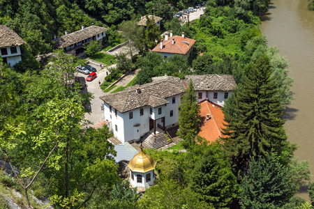 Panorama of Medieval Cherepish Monastery of The Assumption and Iskar River Gorge, Vratsa region, Bulgaria