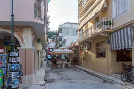 ZAKYNTHOS, GREECE - MAY 27, 2015: Old Building at Pedestrian street in Zakynthos City, Ionian island, Greece Editorial