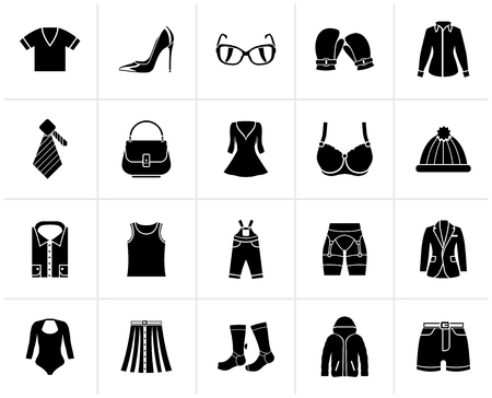 Black Fashion and clothing and accessories icons - vector icon set Illustration