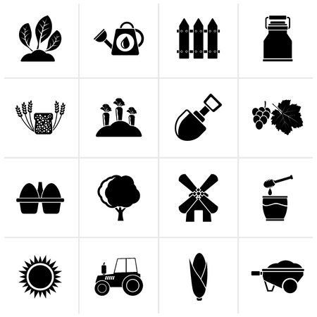 Black Agriculture and farming icons - vector icon set