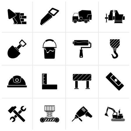 Icônes noires d'outils de construction et de construction - jeu d'icônes vectorielles