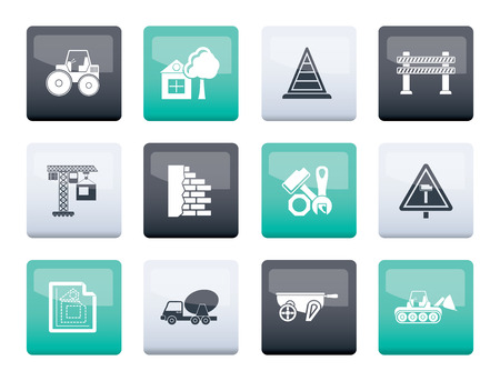 Construction and building Icons over color background - vector icon set