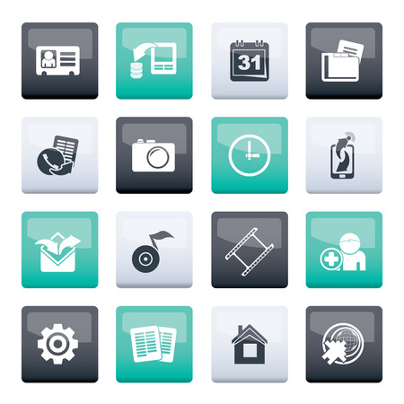 Mobile phone menu icons over color background - vector icon set
