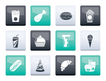 fast food and drink icons over color background - vector icon set