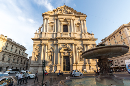 ROME, ITALY - JUNE 22, 2017: Amazing Sunset view of Chiesa Sant Andrea della Valle in Rome, Italy