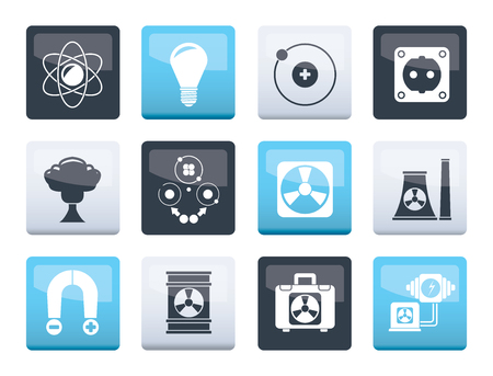 Atomic and Nuclear Energy Icons over color background - vector icon set