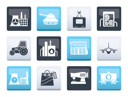 Business and industry icons over color background- vector icon set Illustration