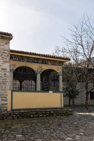 BACHKOVO MONASTERY, BULGARIA - FEBRUARY 4, 2019: Buildings in Medieval Bachkovo Monastery Dormition of the Mother of God, Bulgaria 스톡 콘텐츠 - 129378857