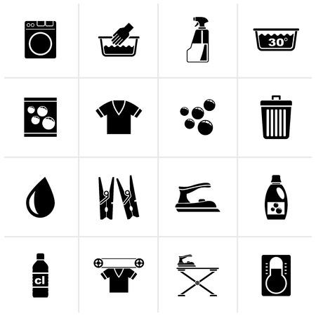 Icônes noires de machine à laver et de blanchisserie - jeu d'icônes vectorielles