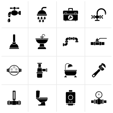 Black plumbing objects and tools equipment icons - vector icon set 矢量图像