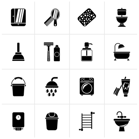 Black Bathroom and hygiene objects icons - vector icon set