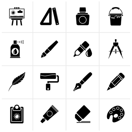 Black Art and painter icons - vector icon set