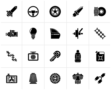 Black Car part and services icons  1 - vector icon set