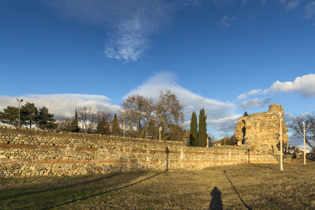Sunset view of Ruins of fortifications in ancient Roman city of Diocletianopolis, town of Hisarya, Plovdiv Region, Bulgaria