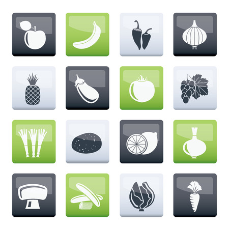 Different kind of fruit and vegetables icons over color background - vector icon set