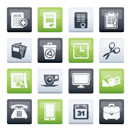 Business and office tools icons over color background - vector icon set Çizim