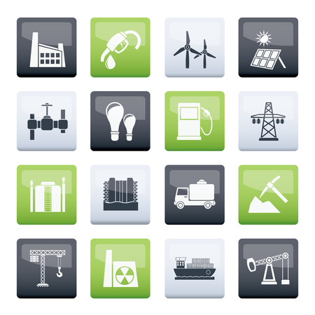 Business and industry icons over color background - vector icon set