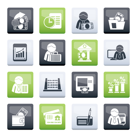 Bank and Finance Icons over color background - Vector Icon Set
